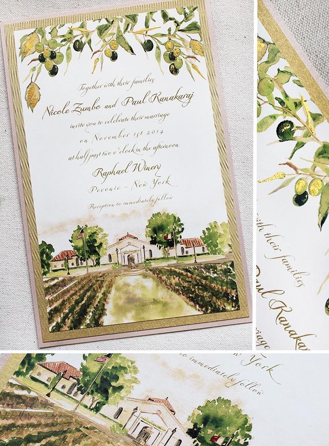 Nicole Z Watercolor Vineyard Wedding
