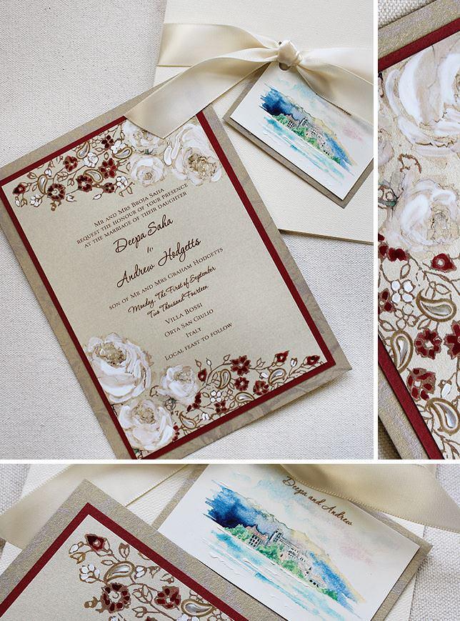 Vintage Lacy Stamp Wedding Invitation