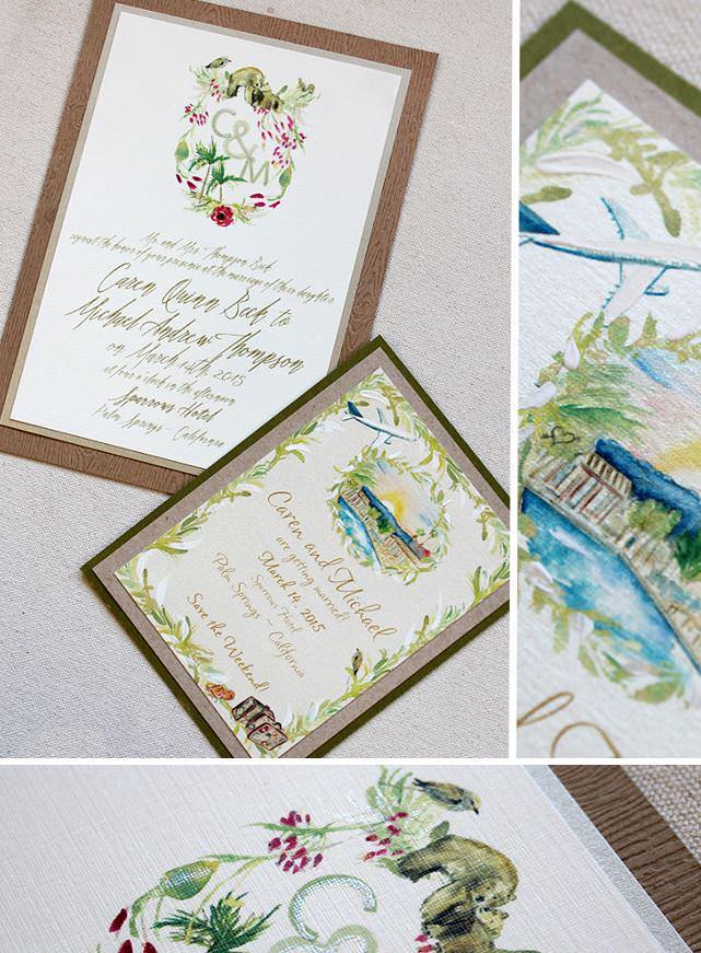 Custom Monogram Wedding Invitation