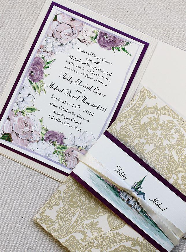Romantic Floral and Venue Wedding Invitations