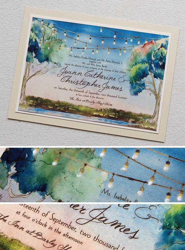 Watercolor Tree Wedding Invitation