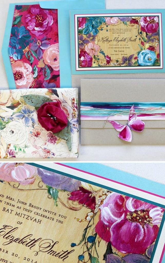 Colorful Flowers Bat Mitzvah Invitation