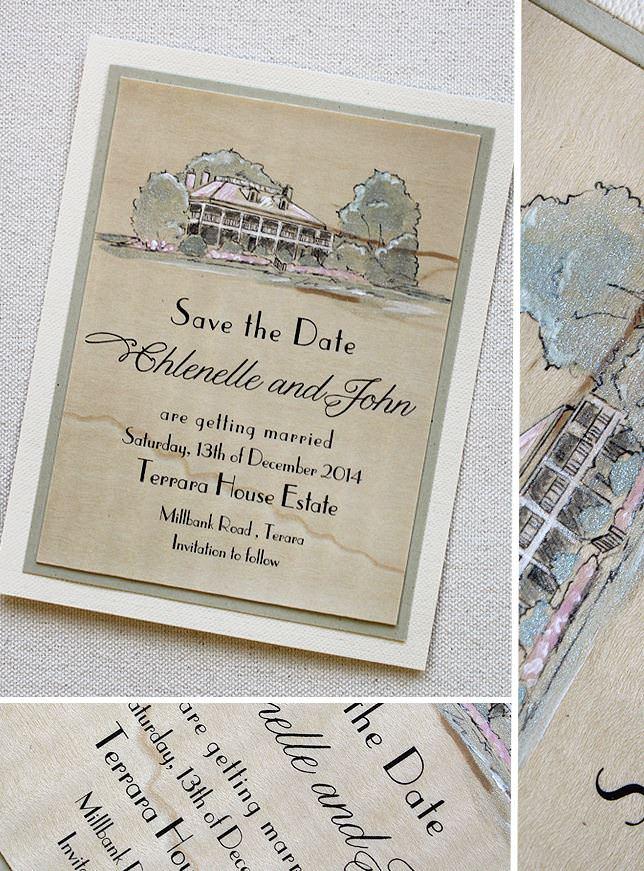Custom Venue Illustration Save the Date