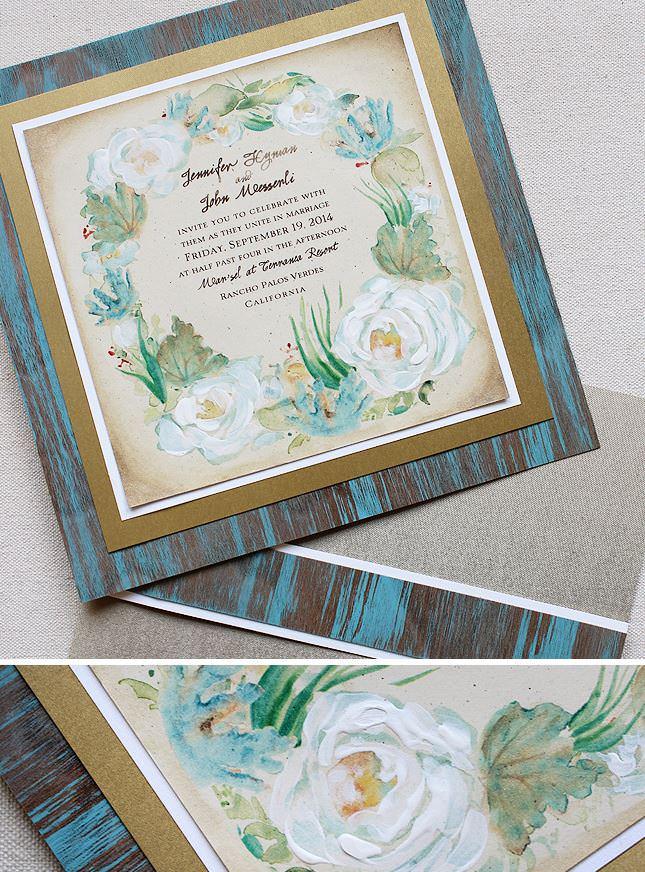 Seaside Floral Wreath Wedding Invitations