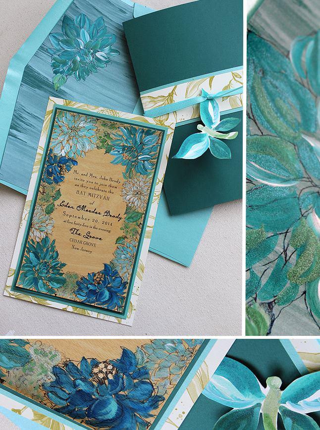 Teal and Blue Floral Frame Bat Mitzvah Invitations