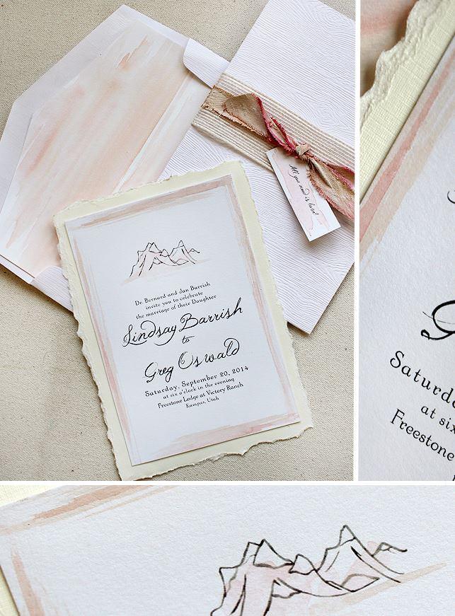 Watercolor Utah Wedding Invitation