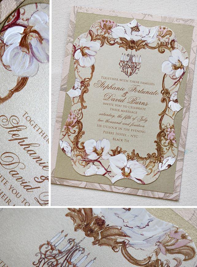 Vintage Floral Frame Wedding Invitation