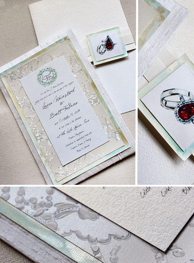 Floral Monogram Wedding Invitation