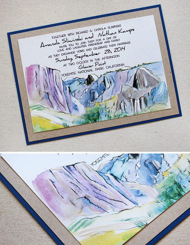 Watercolor Yosemite Wedding Invitation