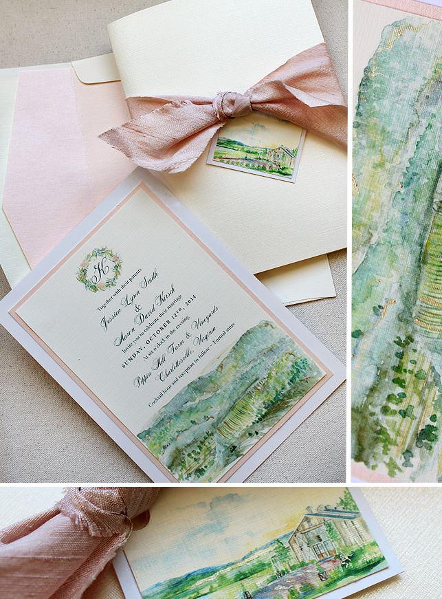 Modern Watercolor Landscape Wedding Invitations