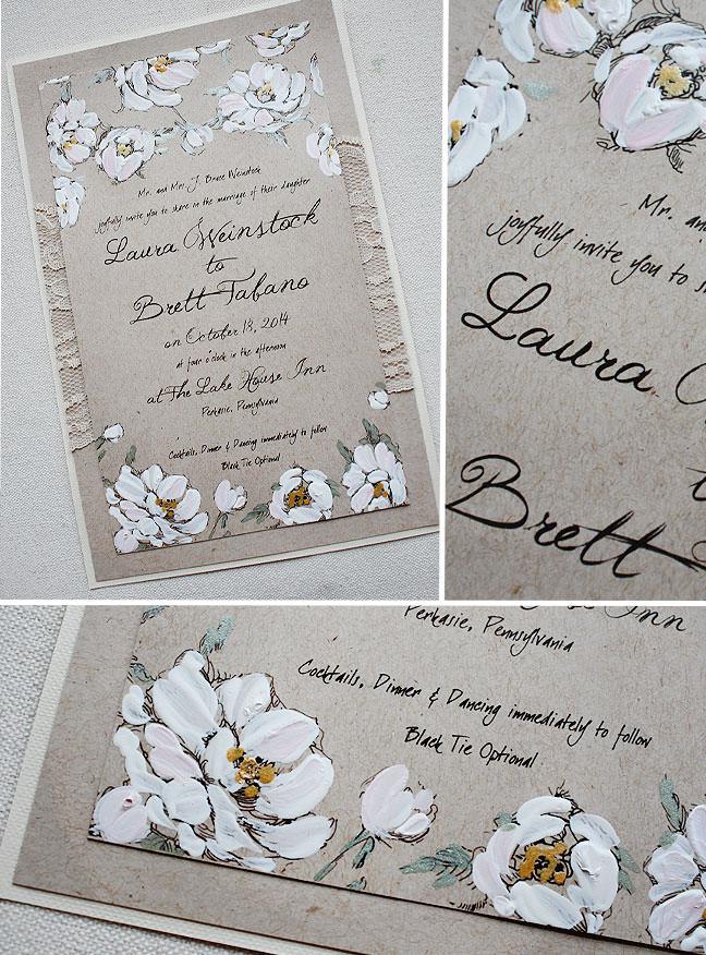 white blooms wedding invitation