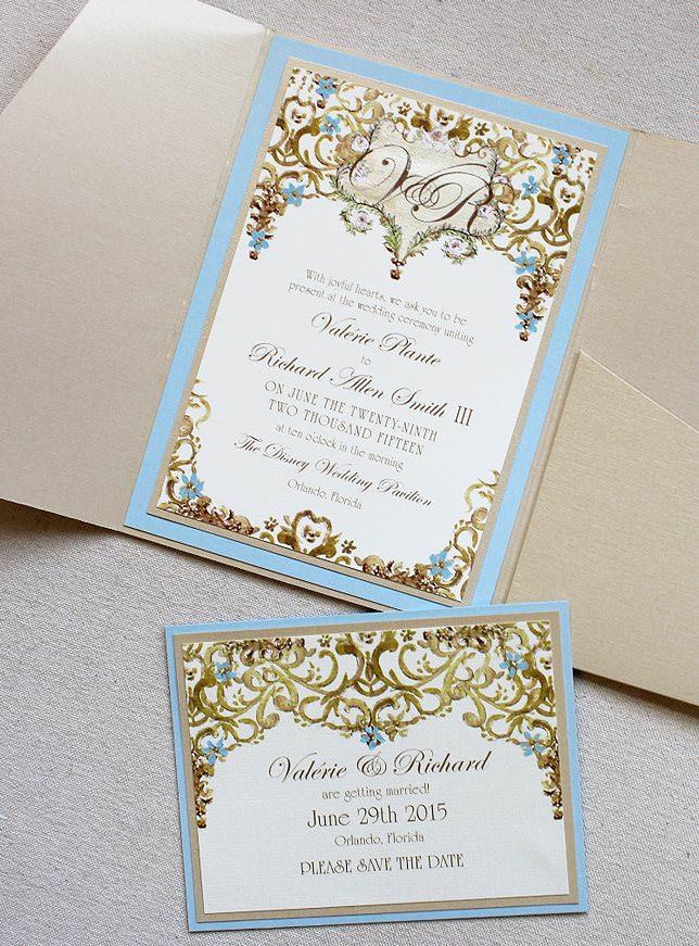 Valerie p light blue and gold framed monogram wedding for Rose gold winter wedding invitations