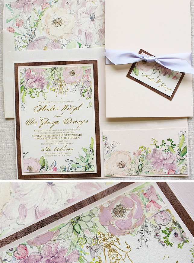 Floral and Succulent Wedding Invitations