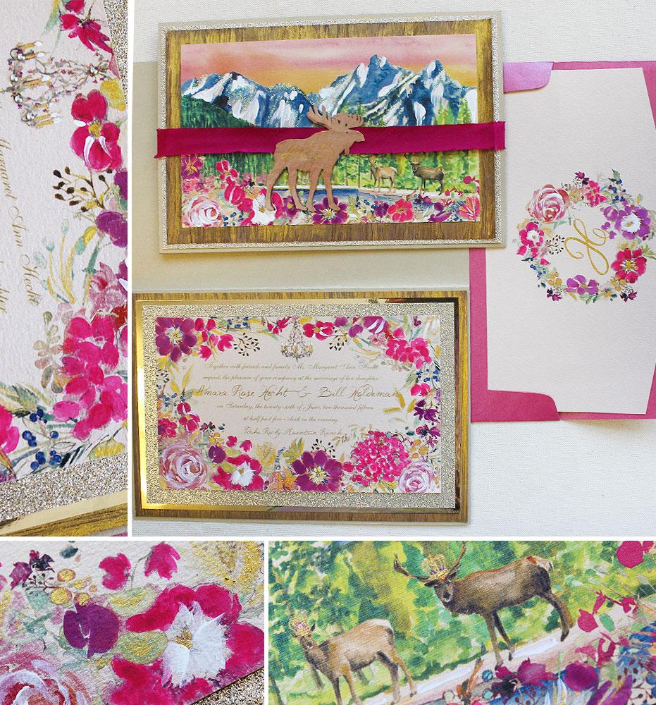 fuchsia-flower-wedding-invitation