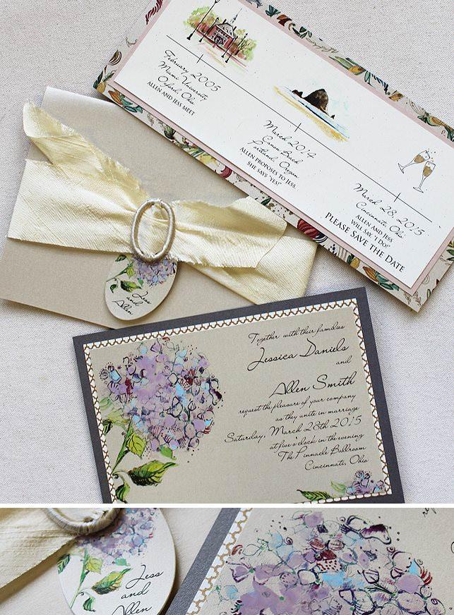 Purple Hydrangea Wedding Invitations
