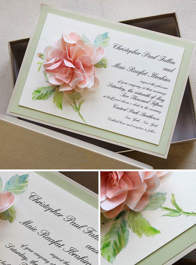 Sculpted Bloom Wedding Invitations