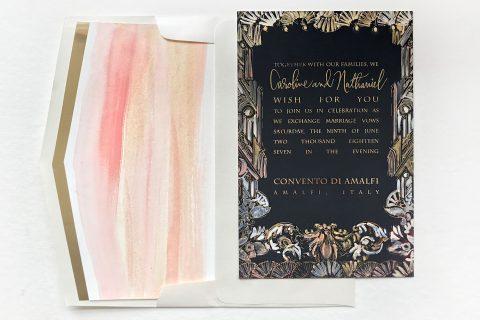 art-nouveau-watercolor-foil-wedding-invite