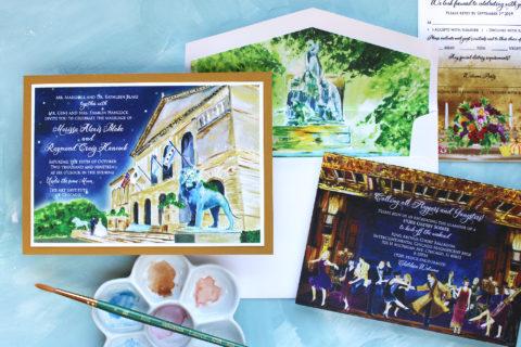 Custom Venue Illustration Wedding Invitations