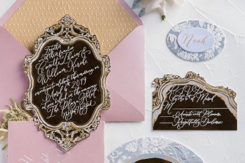 Hand Painted Baroque Vintage Frame Wedding Invitation