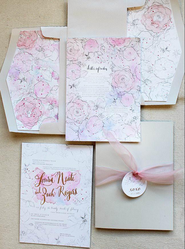 Foil and Letterpress Wedding Invitations