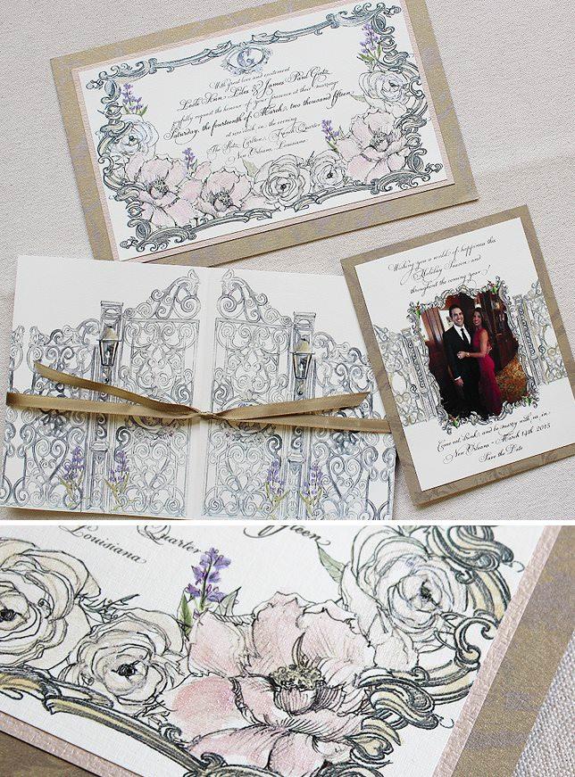 Floral and Frame Wedding Invitation