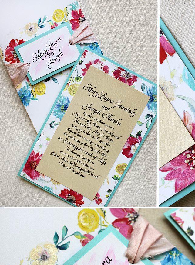 Watercolor Floral Wedding Inivitation