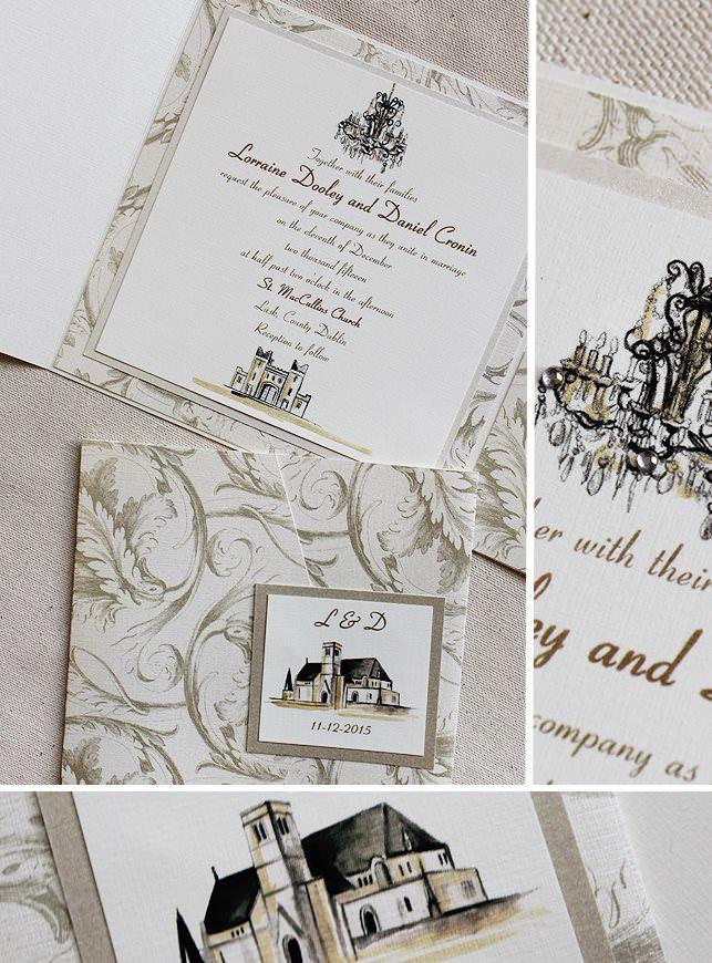 Custom Venue Sketch Wedding Invitations
