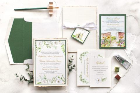 White Floral Watercolor Wedding Invitations