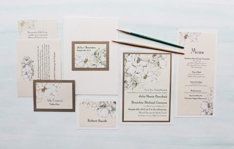 white dahlia hand painted wedding invitation