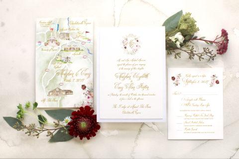 Hand Painted Monogram Wedding Invitations