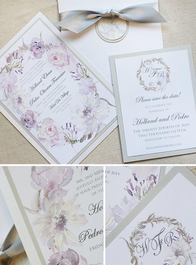 Floral Wreath Wedding Invitations