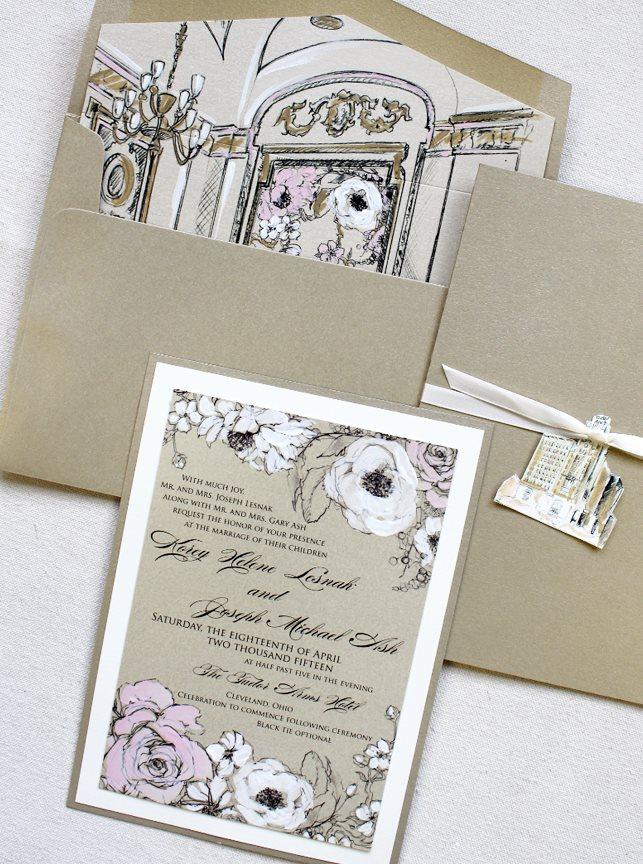 Floral and Venue Wedding Invitations