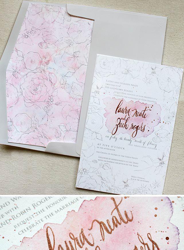 Letterpress and Foil Wedding Invitations