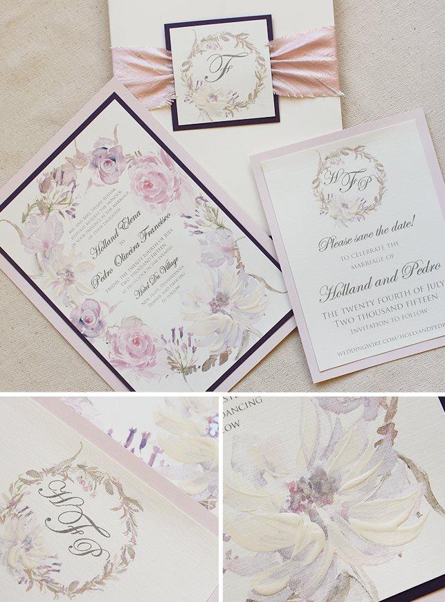 Watercolor Floral Wreath Wedding Invitations