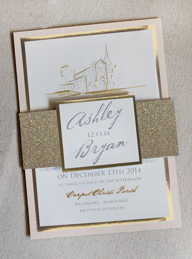 Custom Venue Illustration Wedding Invitation
