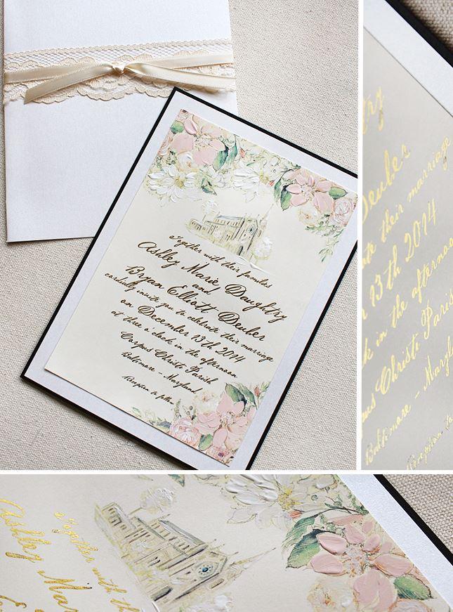 Floral and Venue Illustration Wedding Invitation