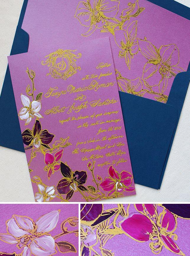 Purple Orchid Wedding Invitations
