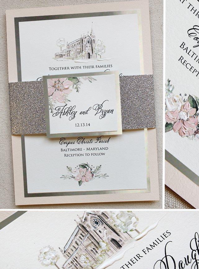Floral and Landscape Wedding Invitation
