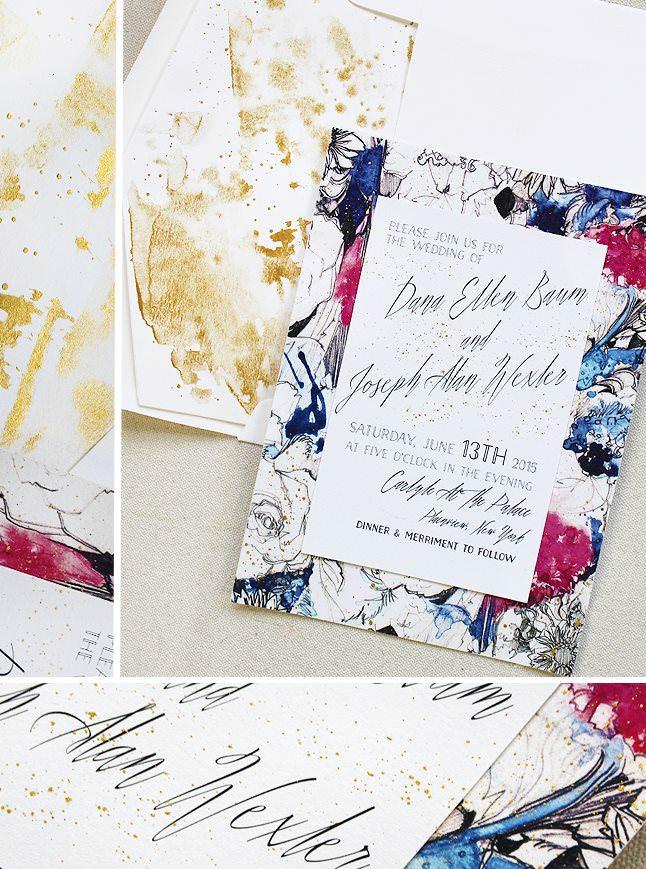 Modern Floral Wedding Invitations