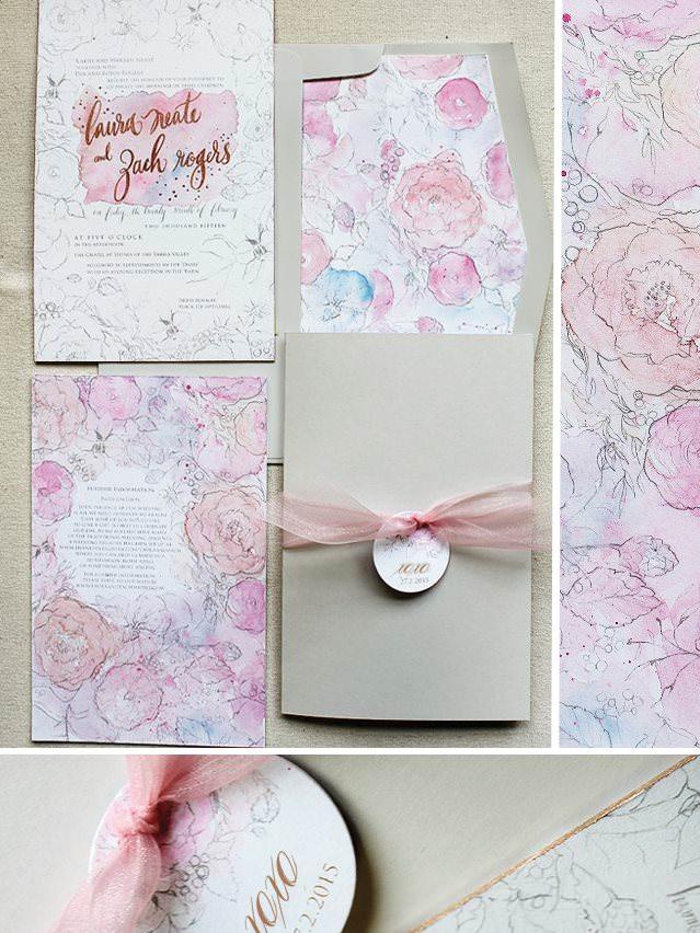 Watercollor Floral Wedding Invitations
