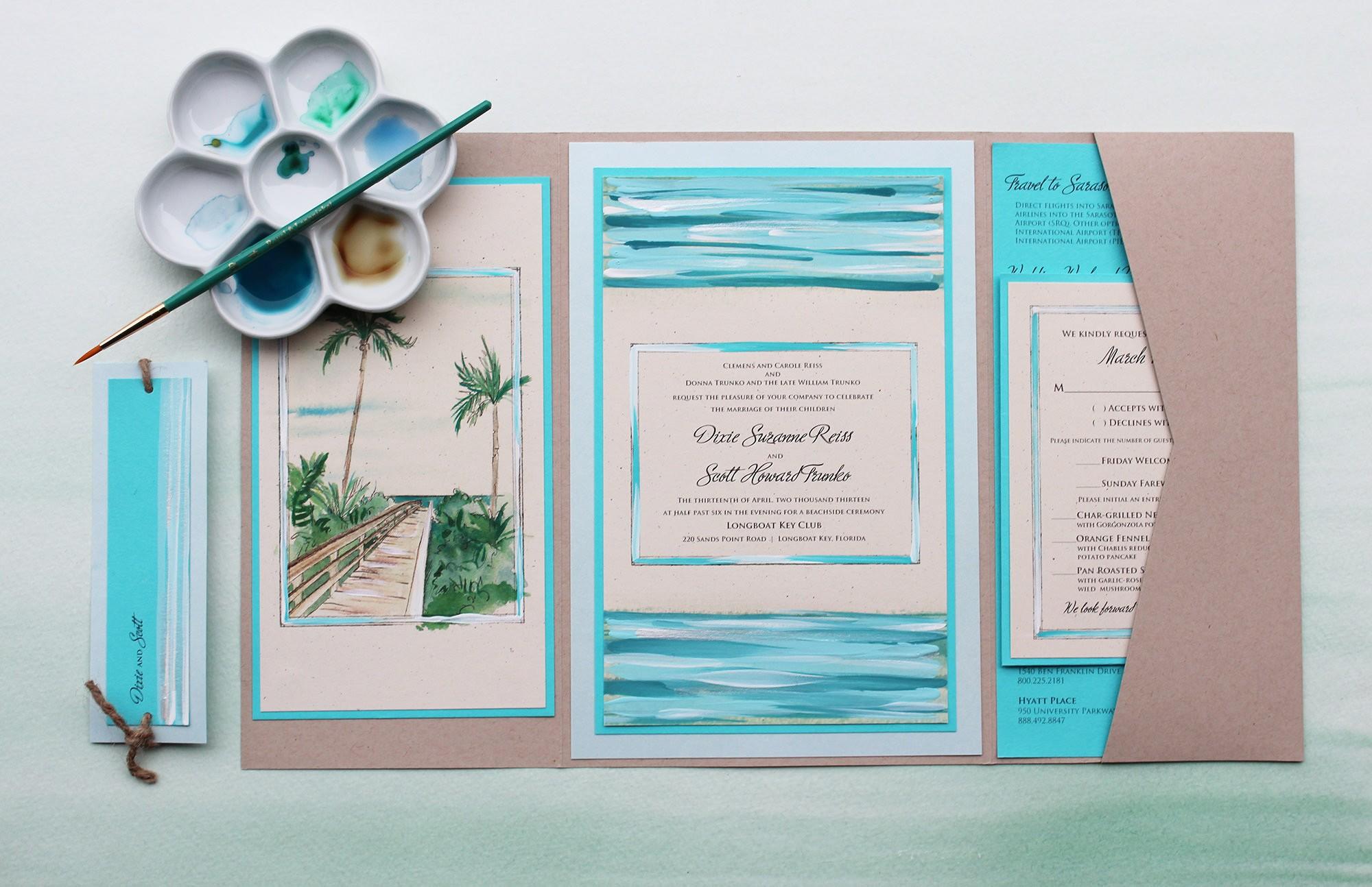 destination watercolor wedding invitations momental