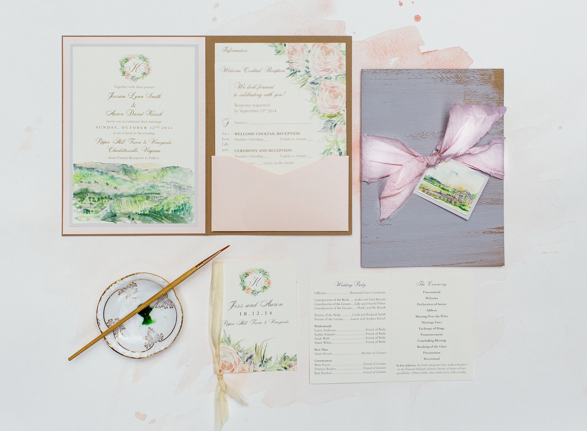 Pin It Hand Painted Places Watercolor Landscape Wedding Invitation