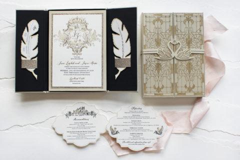 Swan Custom Wedding Crest Boxed Invitation