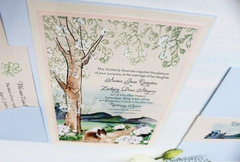 blue-white-flower-pathway-tree-wedding-invitation