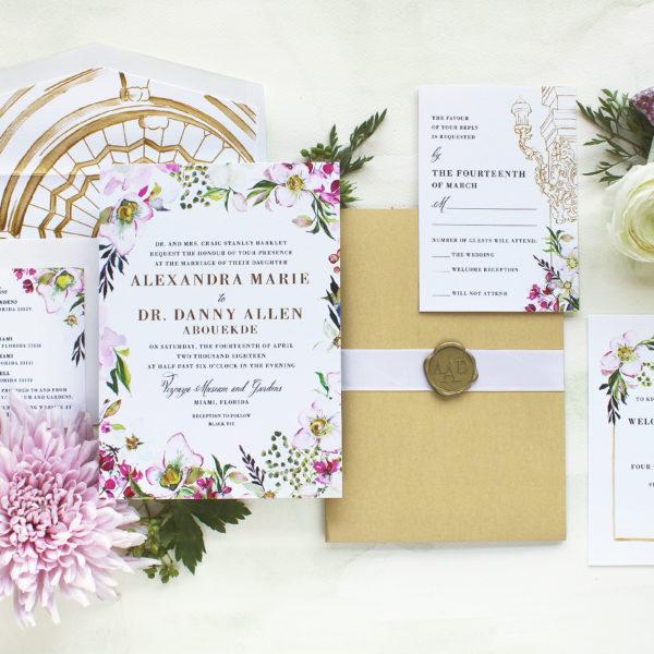 Watercolor Hellebore Floral Hand Painted Wedding Invitations