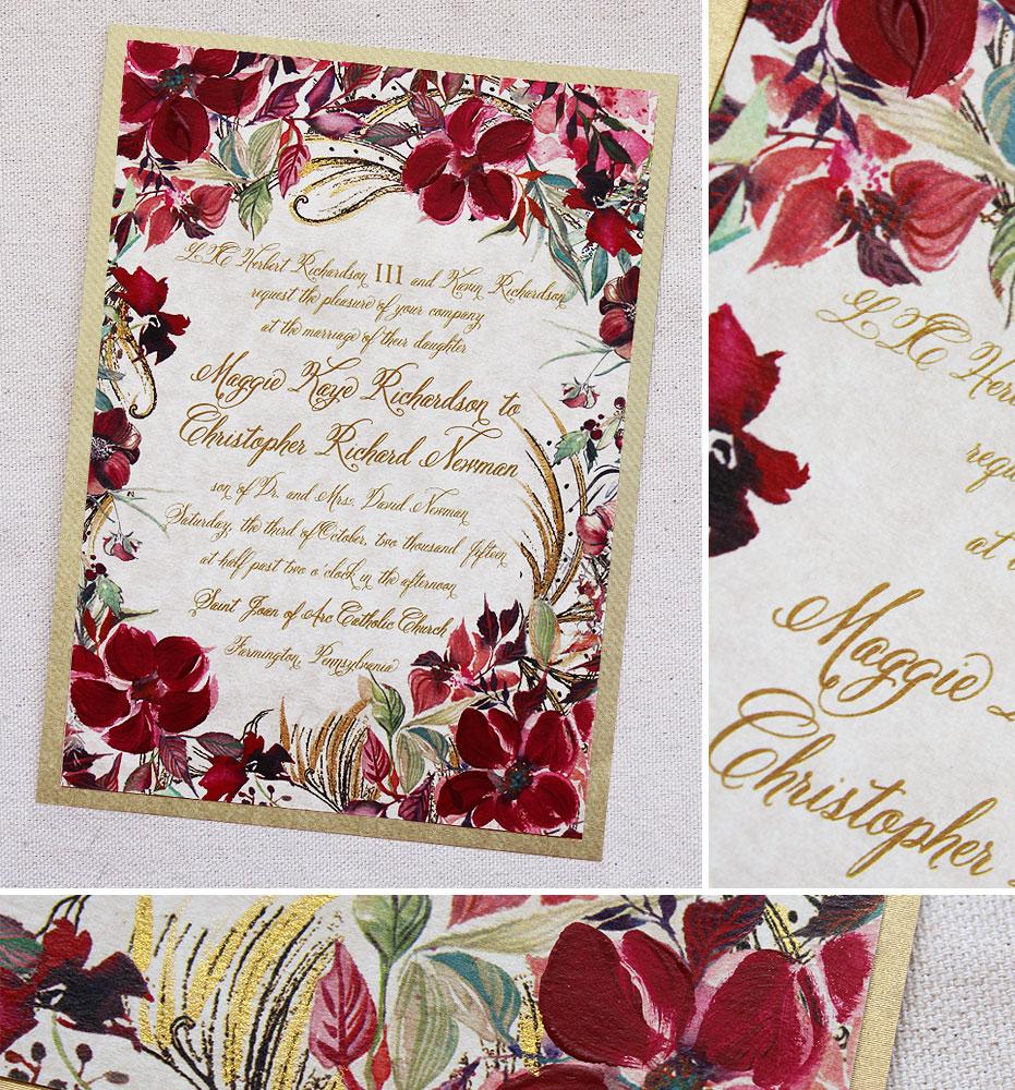 red-flower-botanical-wedding-invite