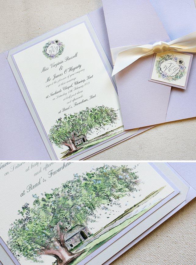 Venue Illustration Wedding Invitations