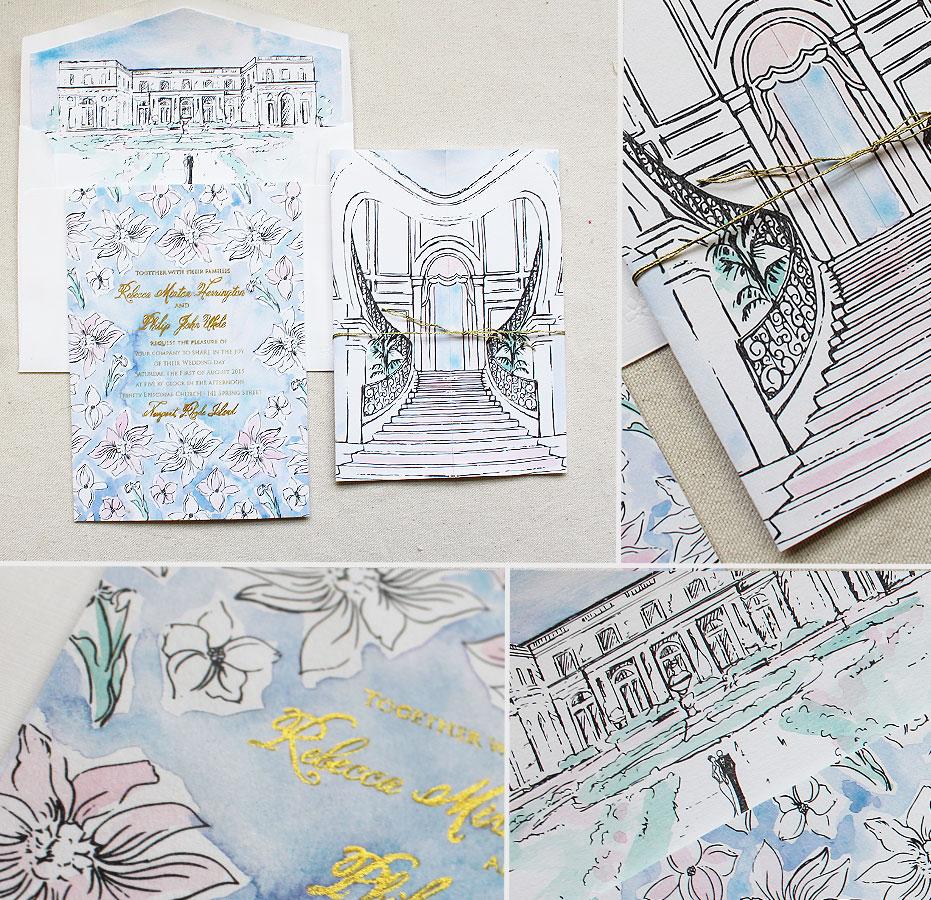 Newport-Rosecliff-Watercolor-Wedding-Invitations