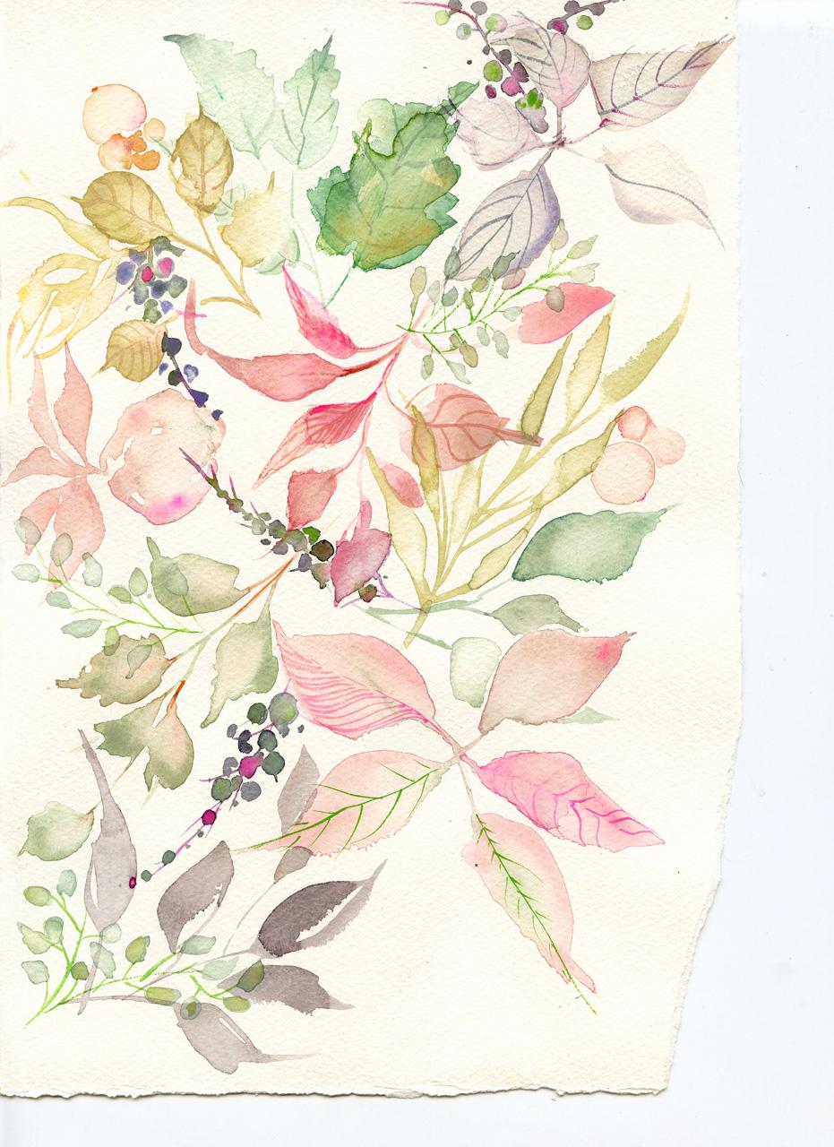 watercolor-leaves pattern