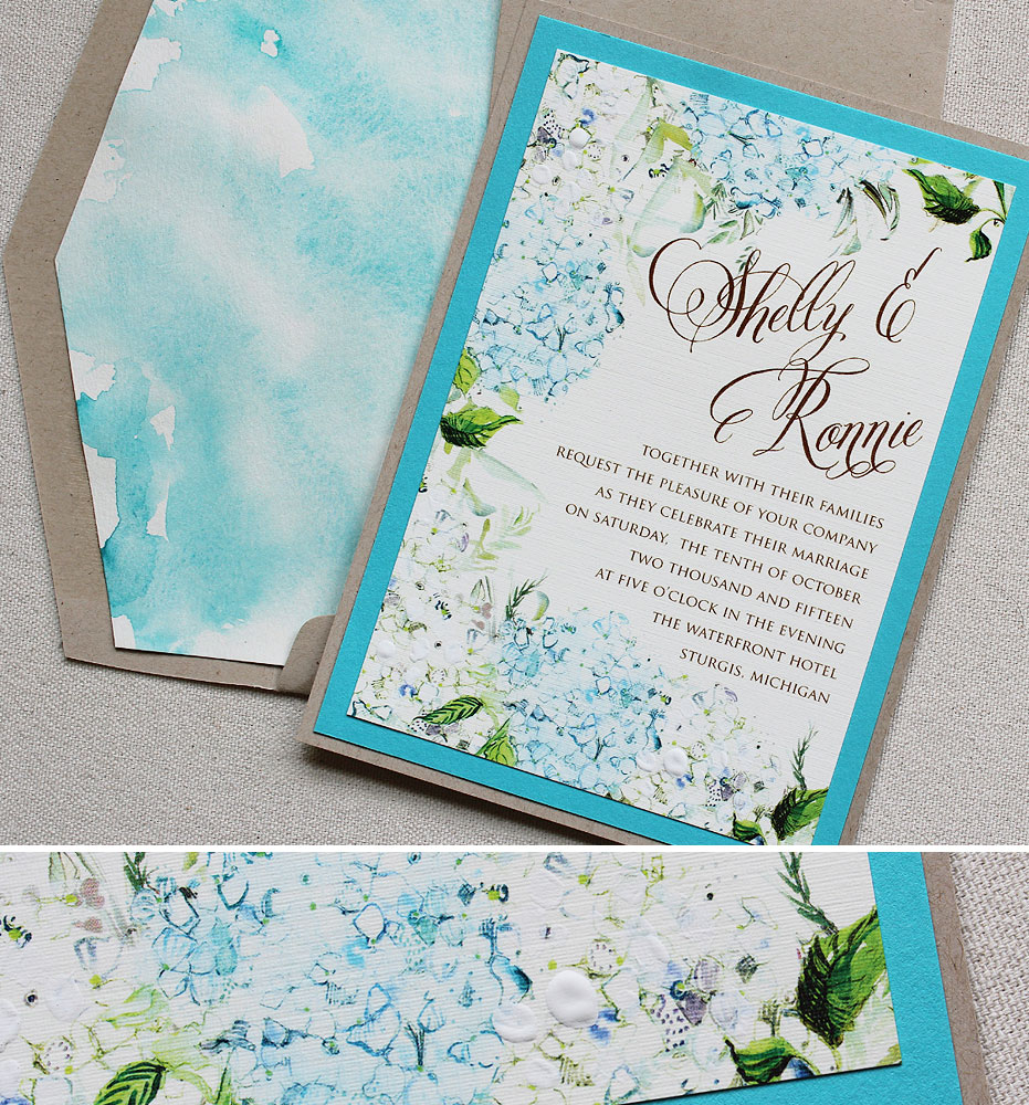Pin It Watercolor Hydrangea Wedding Invite